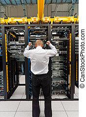 besvær, ind, datacenter