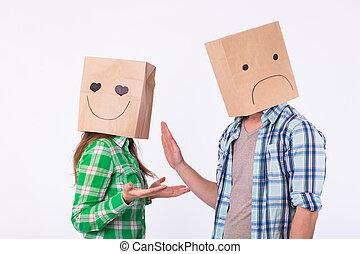 besviken, man, med, hänger lös, över, huvuden, avvisa, hans, woman.