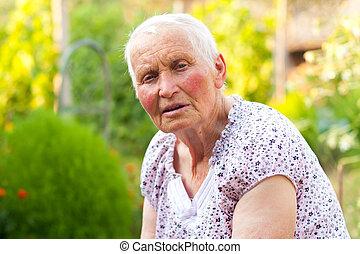 beszéd, öregedő, hölgy