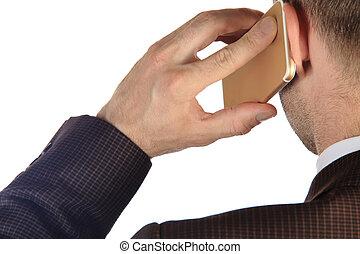 beszéd, üzletember, telefon