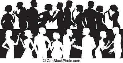beszéd, csoport, emberek