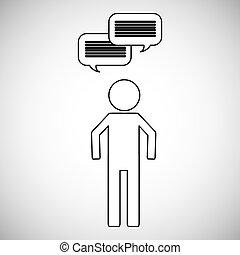beszéd, emberek, buborék, ikon