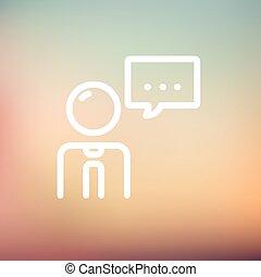 beszéd, híg, üzletember, egyenes, buborék, ikon