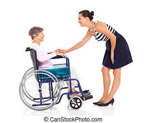 beszéd, idősebb ember, lány, felnőtt, anya