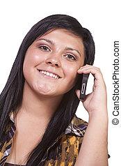 beszéd, leány, telefon, csinos