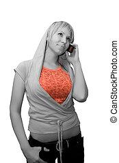 beszéd, leány, telefon