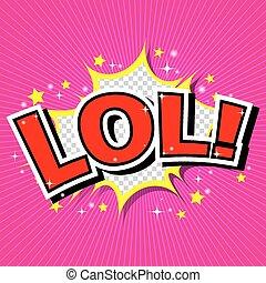 beszéd, lol!, buborék, komikus