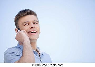 beszéd, mozgatható, fiatal, jókedvű, telefon, telefon., mosolyog bábu