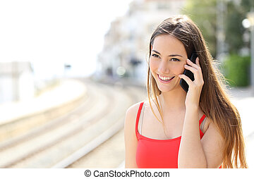 beszéd, mozgatható, kiképez, telefon, állomás, hölgy