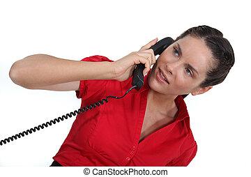 beszéd, nő, telefon