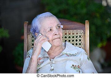 beszéd, nagyanyó, telefon