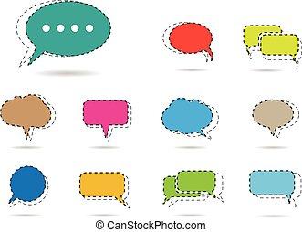 beszéd, vektor, buborék, ikonok
