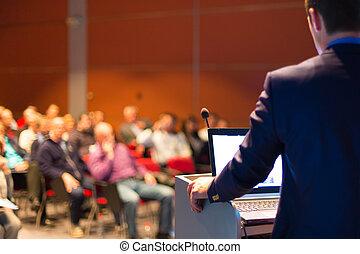 beszélő, -ban, ügy konferencia, és, presentation.