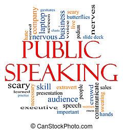 beszélő, fogalom, szó, közönség, felhő