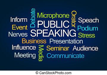 beszélő, szó, közönség, felhő