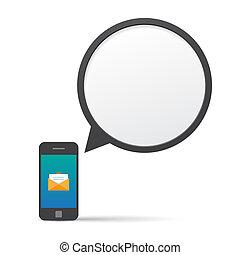 beszél, smartphone, buborék, message.