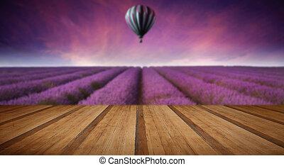 betäuben, blaßlila feld, landschaftsbild, sommer, sonnenuntergang, mit, heißluft, bal
