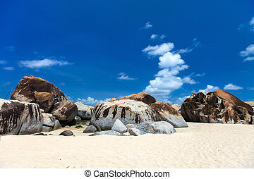 betäuben, sandstrand, an, karibisch