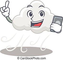 betű, beszélő, felhős, szeles, telefon, karikatúra