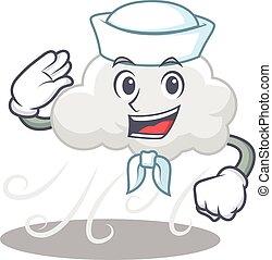 betű, felhős, kalap, szeles, tengerész, fehér, karikatúra