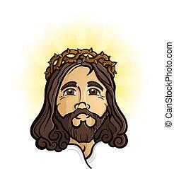 betű, jézus, fiú, jámbor, isten, krisztus, megváltó, karikatúra