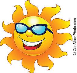 betű, karikatúra, nap