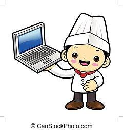 betű, laptop., ábra, elszigetelt, háttér., vektor, birtok, szakács, fehér, boldog