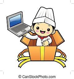 betű, laptop., ábra, elszigetelt, séf, háttér., vektor, birtok, fehér, boldog
