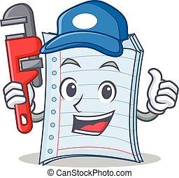 betű, vízvezeték szerelő, jegyzetfüzet, tervezés, karikatúra