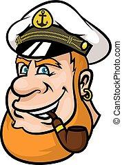 betű, vagy, tengerész, kapitány, karikatúra, boldog
