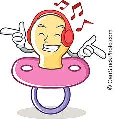 betű, zene hallgat, cucli, csecsemő, karikatúra