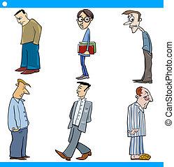 betűk, férfiak, állhatatos, karikatúra, ábra