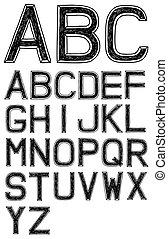 betűtípus, abc, 3, vektor, ábécé, kéz, húzott