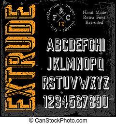 betűtípus, kézi munka, retro