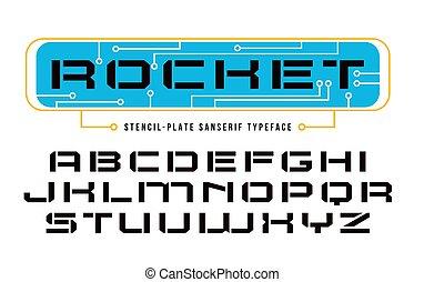 betűtípus, mód, számítógép, stencil-plate, sanserif