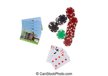 Bet the House Pile Poker Chips House Playing Cards