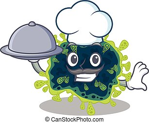 beta coronavirus as a chef cartoon character with food on tray
