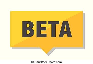 beta price tag - beta yellow square price tag