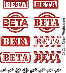 beta, prueba, sellos