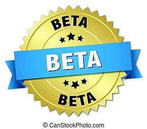 beta round isolated gold badge