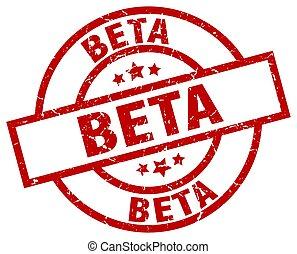 beta round red grunge stamp