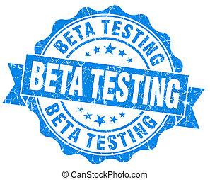 Beta testing blue grunge vintage seal