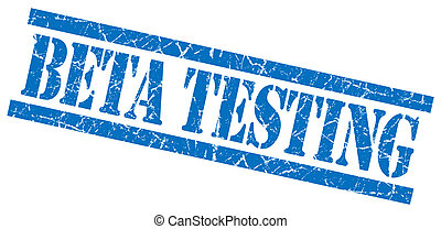 beta testing blue square grungy isolated rubber stamp