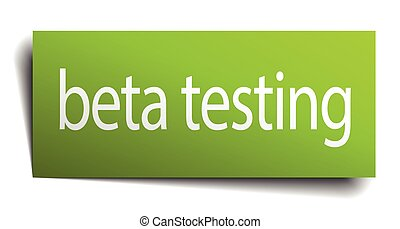 beta testing green paper sign on white background