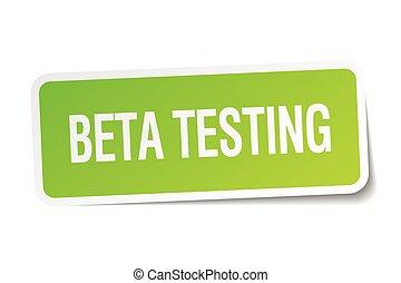beta testing green square sticker on white background