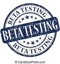 Beta testing grunge blue round stamp