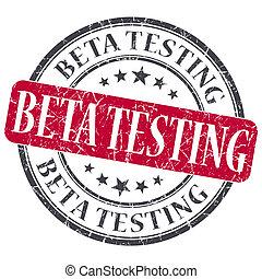 Beta Testing red grunge round stamp on white background