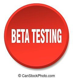 beta testing red round flat isolated push button