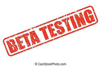 Beta testing red stamp text on white