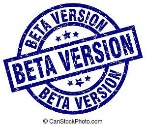 beta version blue round grunge stamp